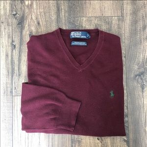 Polo By Ralph Lauren V Neck Sweater Top Burgundy